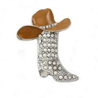 Wholesale Enamel Boot Charm - Lucky Western Cowboy Boots Brooch & Brown Hat Pin Charm Enamel Jewelry