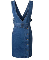 Wholesale Slimming Body Clothes - 2016 Spring Summer Denim Office Overall Dress Women Suspenders Blue Jeans High Waist Slim Body Femme Robes Clothing Vestidos