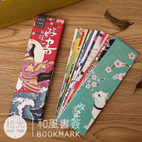 Wholesale Japanese Kid Style - 30pcs lot Cute Kawaii Paper Bookmark Vintage Japanese Style Book Marks For Kids School Materials Free Shipping