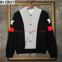 Wholesale Baseball Star Buttons - 2017 autumn designer brand tag clothing men giv embroidery star red stripe sleeve gray patchwork coat baseball jacket