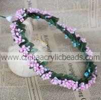 Wholesale Halo Tiara - purple berry bead artificial bridal Rustic wedding hair accessories halo flower girls tiara crown DIY
