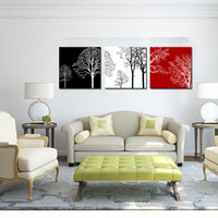 Wholesale three piece painting tree - 3 Pieces Canvas Wall Art Painting Black White and Red Tree Picture Print on Canvas with Wooden Framed Home Living Room Decor Ready to Hang