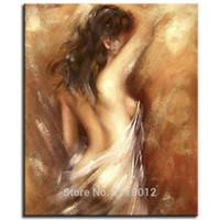 ingrosso oli naturali moderni-100% handmade grande donna sexy pittura a olio nudo corpo nudo ragazza su tela set decorazione della parete casa moderna immagine astratta