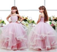 çocuk topu elbisesi pembe toptan satış-Pembe Glitz Çiçek Kız Elbise Çocuk Abiye Spagetti Kayışı Çocuk Parti Doğum Günü Communion Elbise Geri Dantel Kadar Katmanlar Kızlar Pageant Elbise