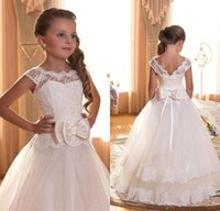 Wholesale Backless Dresses For Flower Girls - 2016 Flower Girl First Communion Dresses Scoop Backless With Appliques and BowTulle Ball Gown Pageant Dresses For Little Girls