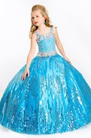 Wholesale Long Spaghetti Strapped Dress Embellished - 2016 New Spring Girl's Pageant Dresses Straps Crystal Sequins Embellished Overlay Long Soft Tulle Birthday Wedding Kids Flower Dresses