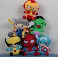 Wholesale Plush Avengers - 18CM Marvel super heroes plush toys the avengers Captain America Superman Spider-Man Batman Thor Iron Man Stuffed plush toys gift