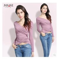 Wholesale Short Wind Coat - The European and American wind autumn dress long-sleeved v-neck t-shirts Asymmetric sexy women cultivate one's morality modal fashion coat
