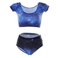 Wholesale Tight Swimming Suit - Women Two Piece Swimsuit 3D Print Elastic Beachwear Quick Dry Fashion Swimming Sets Beatiful Tights Swim Wear Blue Skyscape Galaxy LNHst