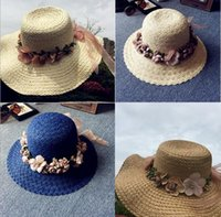 Wholesale Straw Wreaths - Fashion Women Straw Hat Cap Wreath Flower Foldable Sun Beach Hat Summer Beach Headwear 4 Color