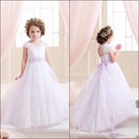 Wholesale hot holy dress - Hot Lovely Lace Flower Girl Dresses Holy First Communion Dresses Little Bow Girls Pageant birthday Party Dress 2016