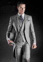 Wholesale Tuxedo Morning Coat Wedding - High Quality Morning Coat Light Grey Groom Tuxedos Peak Lapel Groomsmen Men Best Man Wedding Mens Blazer Suits (Jacket+Pants+Vest)