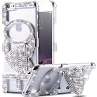 Wholesale Stylish Mobile Cover Wholesale - Wholesale-Luxury Rhinestone Kiss Love Stand Case For iPhone 6 6S 4.7& 6 6s plus 5.5 Woman Girl Stylish Cellphone Cover Sexy Mobile Bag