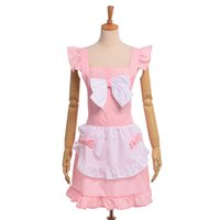 Wholesale Maid Uniform Cute - Women Aprons Lolita Bow Florist Lace Maid Cosplay Uniforms Cute Shop Baking Girl's Apron Dress Pink Black
