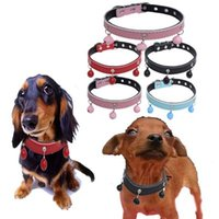 Wholesale wholesale small metal letter - Mix 4 Colors Leather Dog Collar with Mini Bell Metal Leash Charm Pet Dogs Cats Necklace