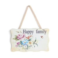 """Wholesale Wood Pattern Vinyl - Wood Wall Home Hang Decoration Rectangle Multicolor Flower Pattern """"Happy Family"""" Words Print 19.5x12.0cm,1 PC 2015 new"""