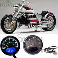 Wholesale Motorcycle Odometer Speedometer Tachometer - Black 12000 RMP kmh mph Universal Motorcycle LCD Digital Odometer Speedometer Tachometer Gear indicator Motorcycle Scooter Golf Carts ATV