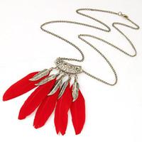 Wholesale long feather necklace - Length 70CM Fashion Feather Necklace Women Red Black Long Necklace Vintage Antic Silver Zinc Leaves Pendant Necklace