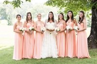 Wholesale Empire Wedding Dress Convertible - Peach Dresses Bridesmaid 2016 Sweetheart Long Full Length Country Style Wholesale Maid Of Honor Wedding Party Gowns For Brides Maid