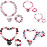 Wholesale Rhinestone Chunky Beads - 2016 New arrival Chunky Bubblegum Rhinestone Beads With Minnie Head Pendant Necklace Bracelet Set for Girls Kids