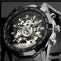 Wholesale Winner Clock - 2017 Mens Watches top brand luxury Winner Fashion Skeleton Clock Men Sport Watch Automatic Mechanical Watches Relogio Masculino