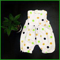Wholesale Cheap Jumpsuits Free Shipping - beautiful dot baby girls jumpsuits sleeveless square neck half pants children one-piece clothing outfits factory cheap price free shipping