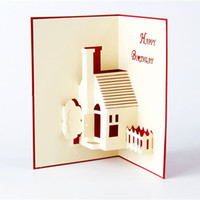 Wholesale 3d House Craft - 3D Greeting Card House Handmade Paper Craft Pop Up Greeting Cards Happy Birthday Card free shipping