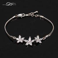 ingrosso catena d'imitazione del platino-I monili placcati del platino dei braccialetti della catena del Rhinestone del fiore variopinti unici del fiore per le donne all'ingrosso DFH019