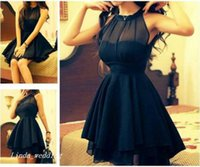 Wholesale cute cocktail dresses - Cute Navy Blue Short Prom Dress Chiffon Special Occasion Dress Cocktail Dress Evening Party Dress Birthday Dress For Women