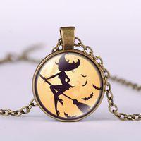 Wholesale Vintage Halloween Bat - Alloy Vintage Hallowmas bat Glass Cabochon besom witch Pendant Necklace Bronze Black Silver Chain Pendant Necklace Nice Jewelry Accessary