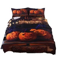 Wholesale Print Quality Bedding Sheet - 3D Print Bedclothes Mischievous Halloween Pumpkin Bedroom Set Black Halloween Zombie Bed Sheet Kids Bedding Set Free Shipping