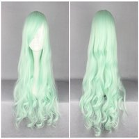 Wholesale Top Quality Costume Wig - Hight Quality New Halloween Top Grade 70cm Long Curly Synthetic Light Green Lolita Wig Costume Party Wig