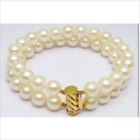 """Wholesale 14k Solid Gold Snake Chain - 2 ROW 9-10MM JAPANESE AKOYA WHITE PEARL BRACELET 14K SOLID GOLD MARKED 7.5-"""" $"""