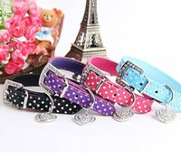 Wholesale Leather Metal Dog Collars - Fashion Dog Collar PU Leather Dog Collar Pet Dog Collar Lead Dot Decorations with Metal Tag