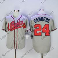 Wholesale Atlanta Baseball Jersey - Deion Sanders Jersey 24 Atlanta Braves Baseball Jerseys 100% Stitched Blue Grey