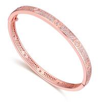 Wholesale indian free channels - Bangle Bracelets Fashion Women Luxury High Quality 18K Gold Plated AAA Zircon Wedding Bracelets Jewelry Wholesale Free Shipping TBR010
