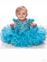 Wholesale Girl S Pageant Dresses - Hot Selling Infant Flower Girl Dress V-neck Straps Sequin Layered Rhinestone Organza Girl 's Pageant Dresses Organza Girls' Pageant Gown