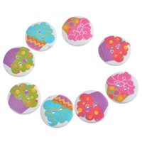 Wholesale Cupcake Sewing - 30PCs 2cm Multicolor Cupcake Round 2-Hole Wood Buttons DIY Scrapbooking Sewing Crafts Random Mixed