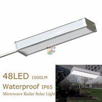 Wholesale Motion Porch Lights - 48LED Wireless Microwave Radar Motion Sensor Solar Light 1000LM Waterproof Porch Street Outdoor Wall Lamp Security Spot Lighting