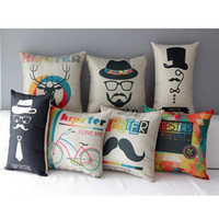 Wholesale Beatles Pillows - 45cm 30x50cm The Beatles Waist Pillow Cotton Linen Fabric Throw Pillow 18inch Handmade New Home Office Bedroom Decoration Sofa Back Cushion