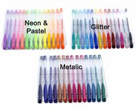 Wholesale pastel stationery resale online - New Design Gel Pen Set W Bonus Colors Refills Metallic Pastel Neon Glitter Sketch Drawing Color Pen School Stationery