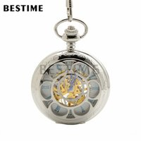 Wholesale Silver Tone Pocket Watch - BESTIME Watch Gift Silver Tone Case Mechanical Hand Wind Blue Roman Numbers Hollow Skeleton Pocket Watch