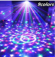 proyector led discoteca al por mayor-9 Colores 27W Bola Mágica de Cristal Led Lámpara de Escenario 21Modos Disco Luz Láser Luces de Fiesta Control de Sonido Proyector Láser de Navidad