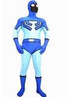 Wholesale Ted Costumes - Blue Beetle Ted Kord Spandex Superhero Costume Adult Halloween Fullbody Cosplay Costumes Zentai Suit