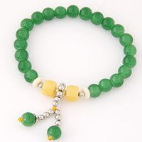 Wholesale Two Rings Balls - Bohemian Nature Stone Beads Bracelets & Bangles for Women Two Balls Pendant Men Brazaletes Pulseras Mujer Bijoux Femme 9 Colors