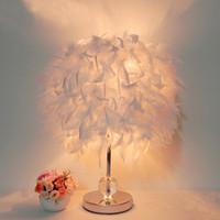 led aydınlatma deco masa toptan satış-Yeni mağaza promosyon başucu okuma odası fuaye oturma odası beyaz tüy masa ışık lamba kristal ile yaşayan