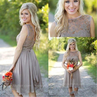 Wholesale grey chiffon summer dress short online - 2016 New Beach Knee Length Bridesmaid Dresses Chiffon Lace Crew Neck Western Country Summer Cheap Plus Size Formal Party Prom Dresses Grey