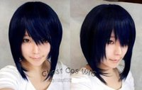 Wholesale Short Dark Blue Cosplay Wig - Free shipping New High Quality Fashion Picture wig >Dark blue mixed black anime role-playing wig cosplay blue-black short wig