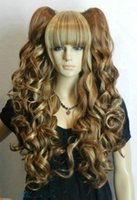 Wholesale Long Brown Blonde Wavy - peruvian glueless full lace human hair wigs lace front wigs for>>>Split Type Dark brown Blonde Mix Long Straight Wavy Cosplay Wig Ponytails
