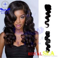 "Wholesale Loose Wavy Russian Hair - 7A Brazilian Hair Weave Wavy Loose Deep Wave 1PC Free Part Top Lace Closure 4""x4"" With 3PCS Hair Bundles Hair Wefts Hair Extensions Natural"